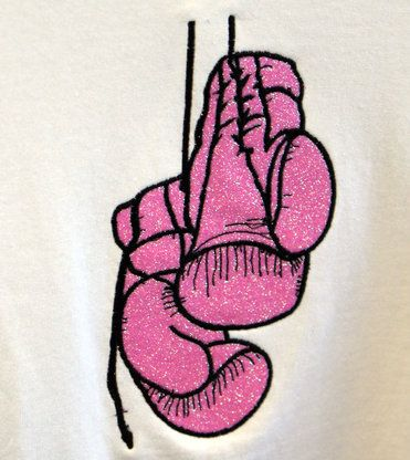 Boxing Gloves - Glitter flake embroidered applique Boxing t-shirt - Hollywood Filane