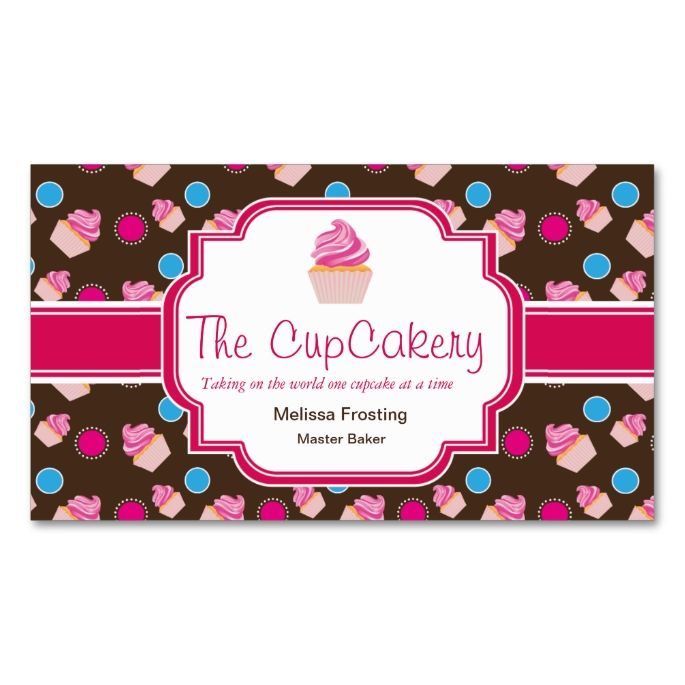 Brown and Pink Cute Cupcake Bakery Business Cards. Make your own business card with this great design. All you need is to add your info to this template. Click the image to try it out!