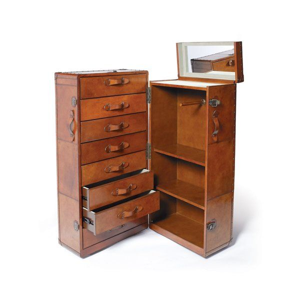 Wardrobe Chest #Travelers #British #Trunk Tan Leather New Free Shipping