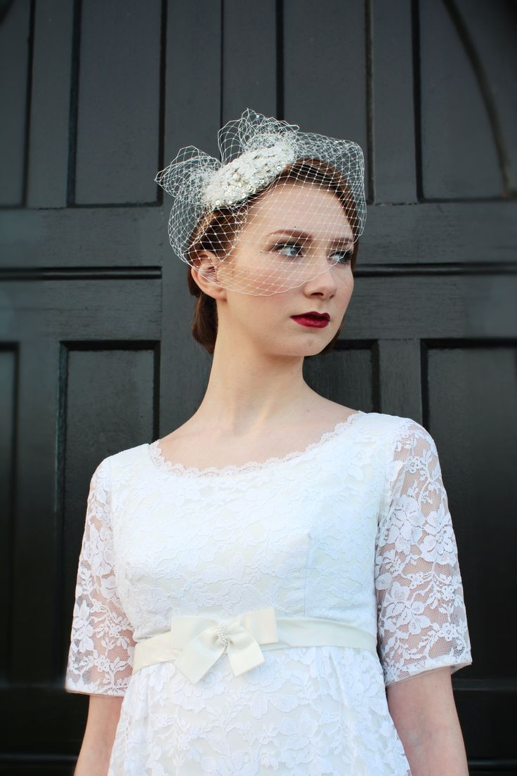 1960s Lace vintage wedding dress | empire waist | red lips | birdcage veil | lace sleeves www.vintagepearlbridal.ie