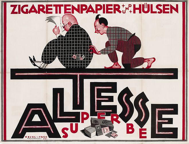 Altesse Superbe Zigarettenpapier - Zigarettenhülsen Altesse-Ghaza Aktiengesellschaft, Vereinigte Zigarettenhülsen- und Papierfabriken, Wien. Entwurf Hermann Kosel und Rolf Frey, Österreich 1921.