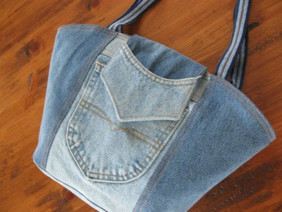 Recycled jeans purse with decorative shoulder by BonjourHandmade