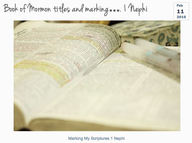 Earlier this year I read 1 Nephi in the Book of Mormon and followed this marking guide as a way to improve my study. Very informative, rewarding, and also fun! --LO