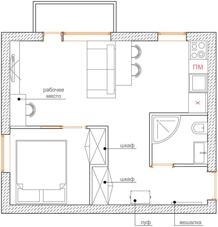 Фотография: Спальня в стиле Современный, Эклектика, Малогабаритная квартира, Квартира, Планировки, Перепланировка – фото на InMyRoom.ru