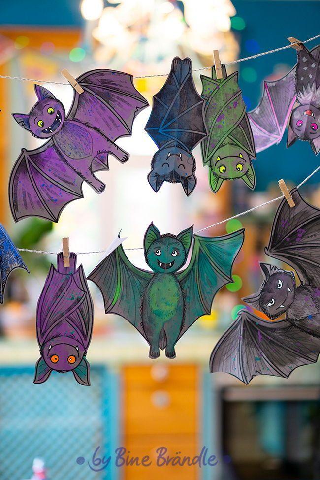 Fledermause Zum Selbst Ausmalen Und Dekorieren Fur Eine Schaurig Schone Halloween Deko Ganz Einfach Selbst A Halloween Crafts Kids Origami Balloon Decorations