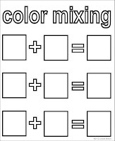color mixing chart {free download}    **Can add another with 3 squares to make Brown.
