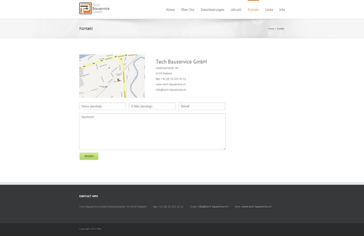 This is the Contact page from Tech Bauservice