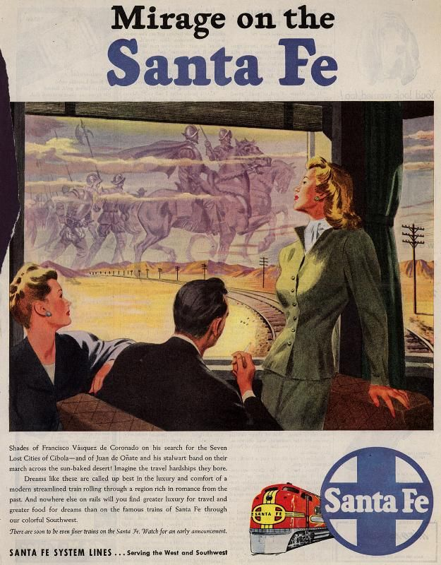 Vintage Santa Fe System Lines Ad - 1946