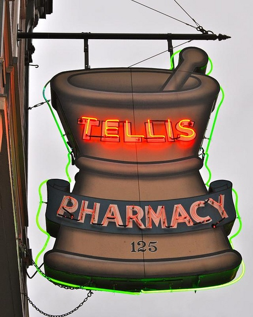 Tellis PHARMACY Neon Figural Sign. Mortar & Pestle.