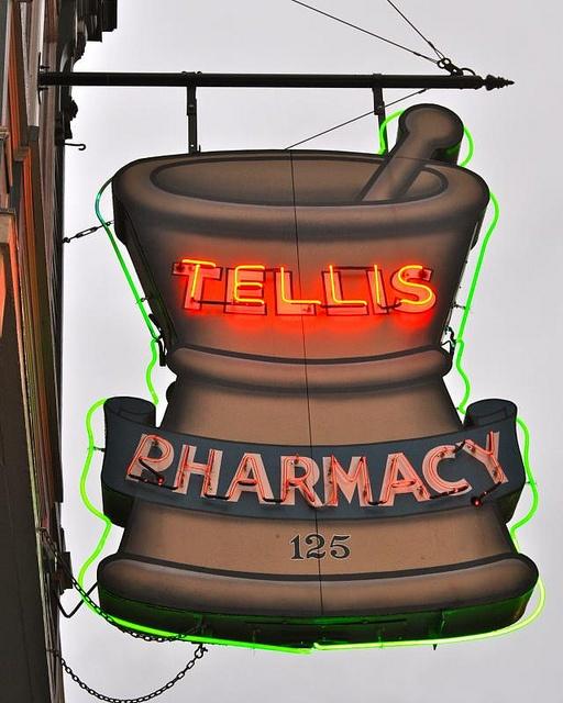 Tellis PHARMACY Neon Figural Sign. Mortar & Pestle.