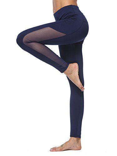 dh Garment Legging de Sport Femme Pantalon Fitness Amincissant Taille Haute avec  Poche Tenue Sport pour Yoga Zumba Gym Running (Smal… 5895477b8ce