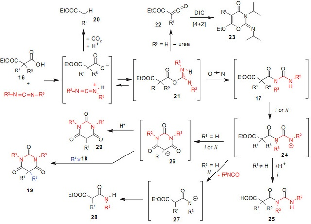 best organic chemistry reaction mechanisms images  scheme 8 from carbodiimides mediated multi component synthesis of biologically relevant structures published in organic