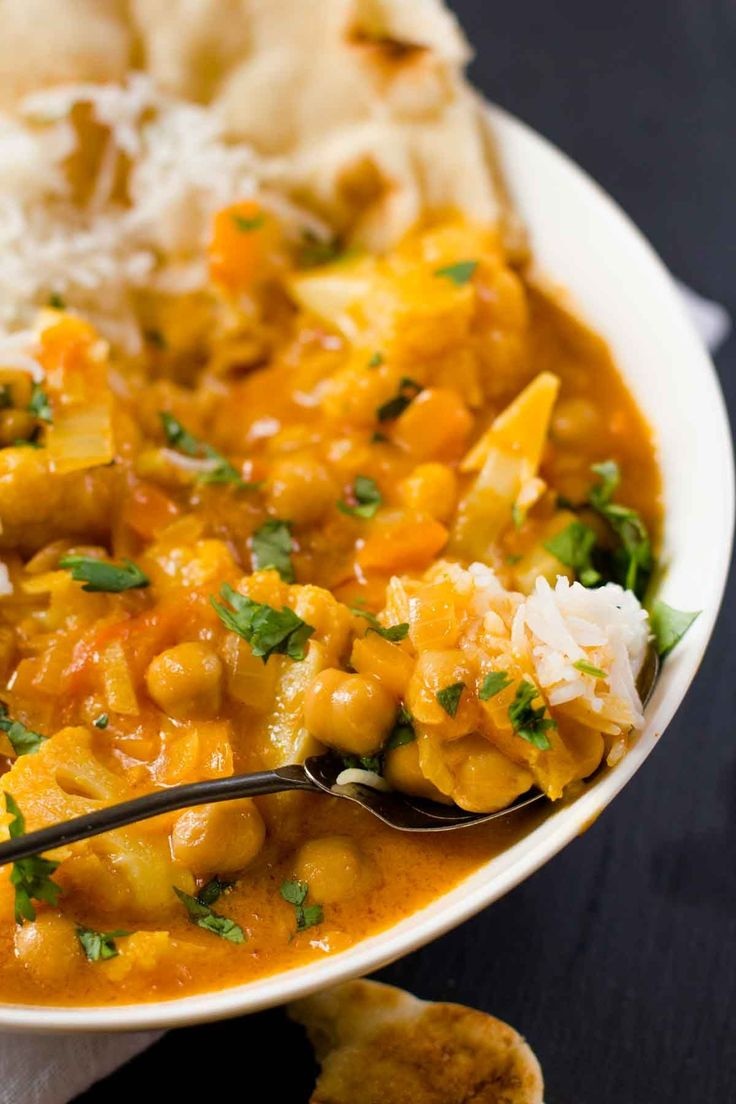 This Chickpea and Cauliflower Curry is packed with exotic flavor, but only takes about 20 minutes to come together from start to finish!