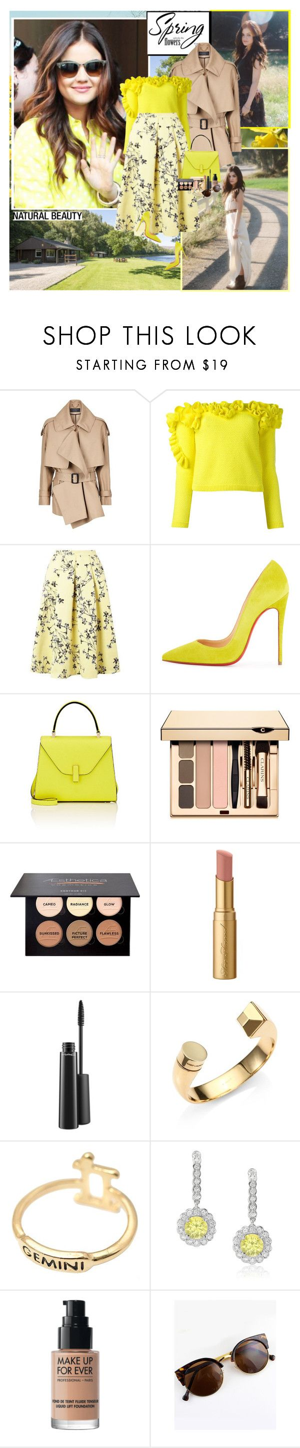 """""""Lucy Hale : )"""" by thisiswhoireallyam7 ❤ liked on Polyvore featuring Burberry, Delpozo, Miss Selfridge, Christian Louboutin, Valextra, Too Faced Cosmetics, MAC Cosmetics, Yves Saint Laurent, MAKE UP FOR EVER and yellow"""