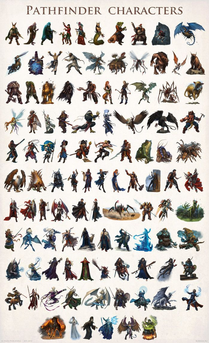 105 characters for Pathfinder RPG. It's a result of two years of cooperation with Paizo Publishing and great art director Andrew Vallas. Download image for hi-res.