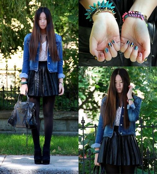 Spiky Jacket, Leather Skirt, Balenciaga City Bag
