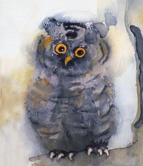 Art Watercolor Painting Owl Print Spring Summer Apartment Autumn Dorm Gray Bird Woodland Creature Men Women Kids 7.6 x 9.6 Under 20. $20.00, via Etsy.
