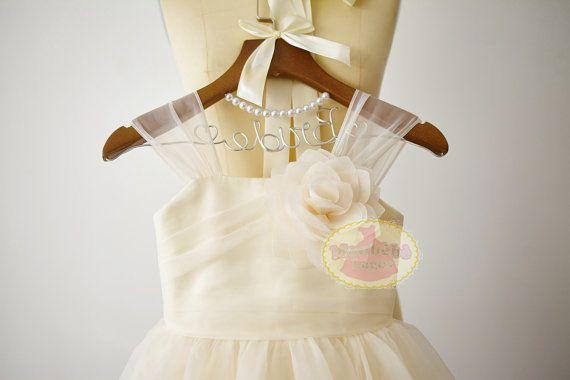 Champagne Organza flor chica vestido Junior Dama de honor DressF0073 fiesta de la boda