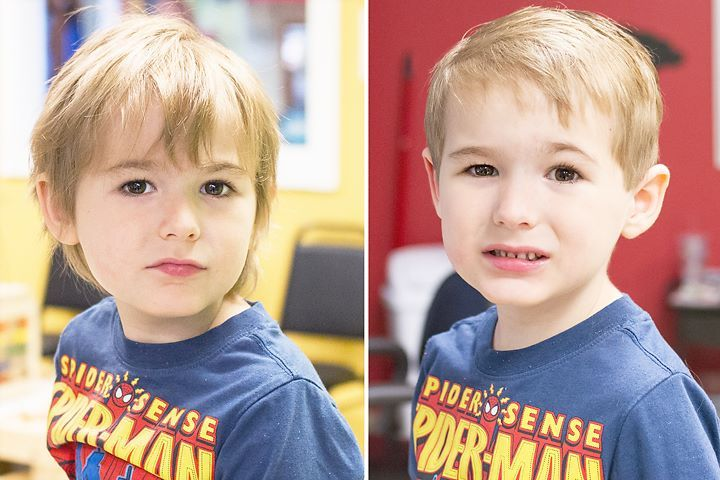 "This superhero did a ""super"" job during his first professional haircut.  Boy's First Haircut at Junior Cuts (kids hair salon) in Milford, OH (Cincinnati)"