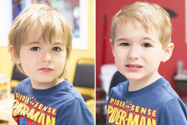 """This superhero did a """"super"""" job during his first professional haircut.  Boy's First Haircut at Junior Cuts (kids hair salon) in Milford, OH (Cincinnati)"""