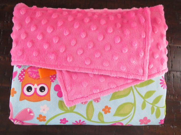 Baby Girl Owl Minky Blanket. Use this soft warm blanket in your OWL baby nursery.  OWL ALWAYS LOVE YOU