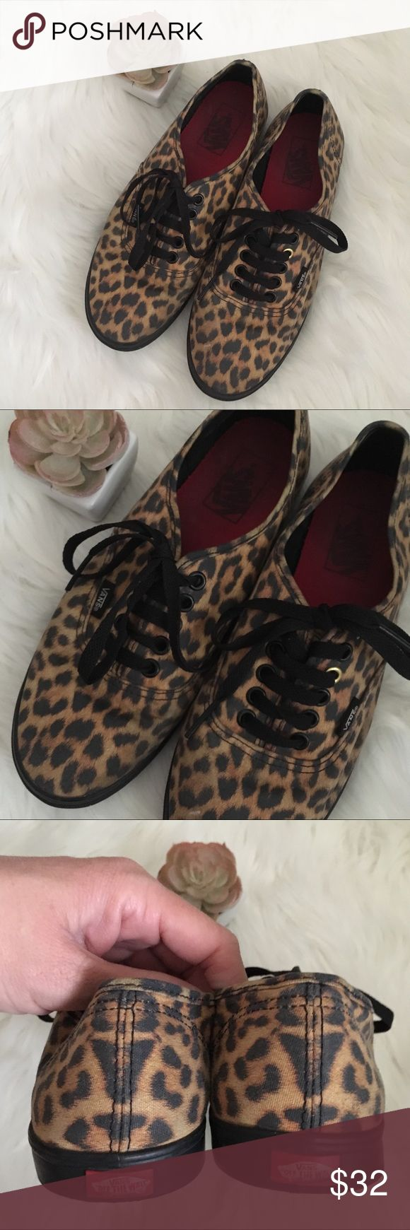 Cheetah / Leopard print vans women's size 8.5 Awesome animal print Vans Sneakers!  They are a Cheetah / Leopard print! Size 8.5 (women's) Good used condition overall! Worn, and show some wear. Creases by the toes. Insides have some dirt/wear. Backs have some wear and logos have been rubbed some. Vans Shoes Sneakers
