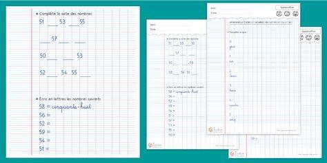 Écrire les nombres en chiffres et en lettres CP CE1 Nombres de 0 à 59