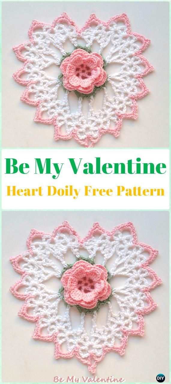 Crochet Be My Valentine Heart Doily Free Pattern - Crochet Doily Free Patterns