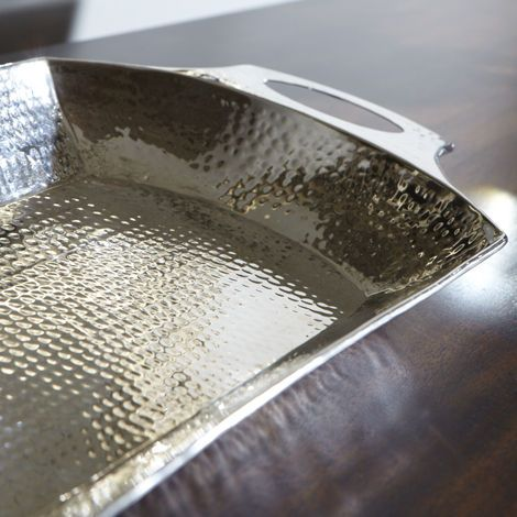 Silver home decor modern hammered tray ethan allen us for Modern silver home accessories