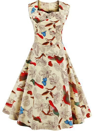 Sleeveless Bird Print A Line Dress on sale only US$33.48 now, buy cheap Sleeveless Bird Print A Line Dress at lulugal.com