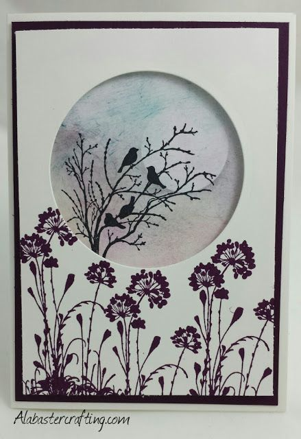 Neutrale Karte/neutral card Stampin up Material: Stempelsets: Serene Silhouettes Farben: Stazon Schwarz, Brombeermousse, Flüsterweiß, Schiefergrau, Kirschblüte, Lagunenblau, Honiggelb  Stampin up material : Stamp sets: Serene Silhouettes Colours: Stazon black, Blackberry bliss, Whisper white, Smokey slate, Blushing bride, Lost Lagoon, Hello honey