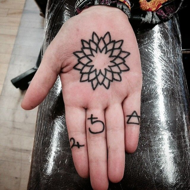 Simple Black Mandala Tattoo On The Right Palm Palm Tattoos Hand Palm Tattoos Hand Poked Tattoo