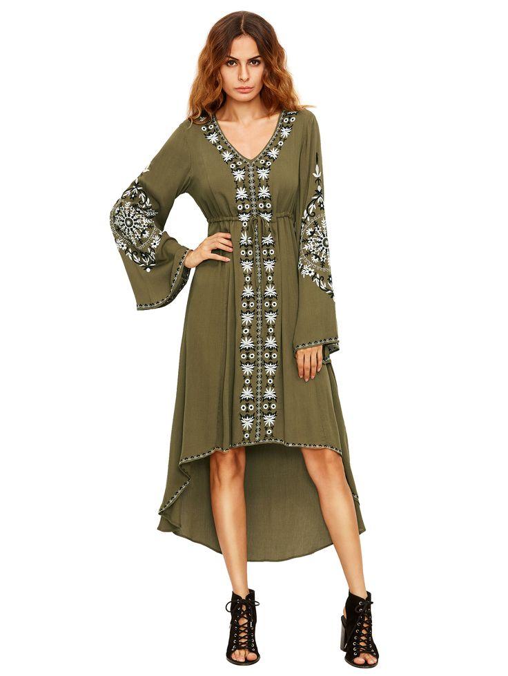 Vestido de impresión tribal de la manga del campanero del verde del ejército-Spanish SheIn(Sheinside)