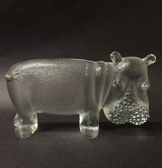 Kosta Boda Swedish Art Glass Hippo by VintageCharacter on Etsy