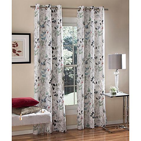 M.style™ Sketchbook Floral 84 Inch Grommet Top Window Curtain Panel Pair