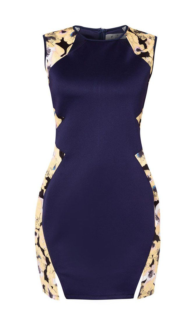 Printed Panels Dress by Something Borrowed. Made from polyester, navy blue combination with printed floral pattern on the side, round neck, sleeveless, back zipper, slit accent, looking gorgeous with this pretty dress.  http://www.zocko.com/z/JE7Hf