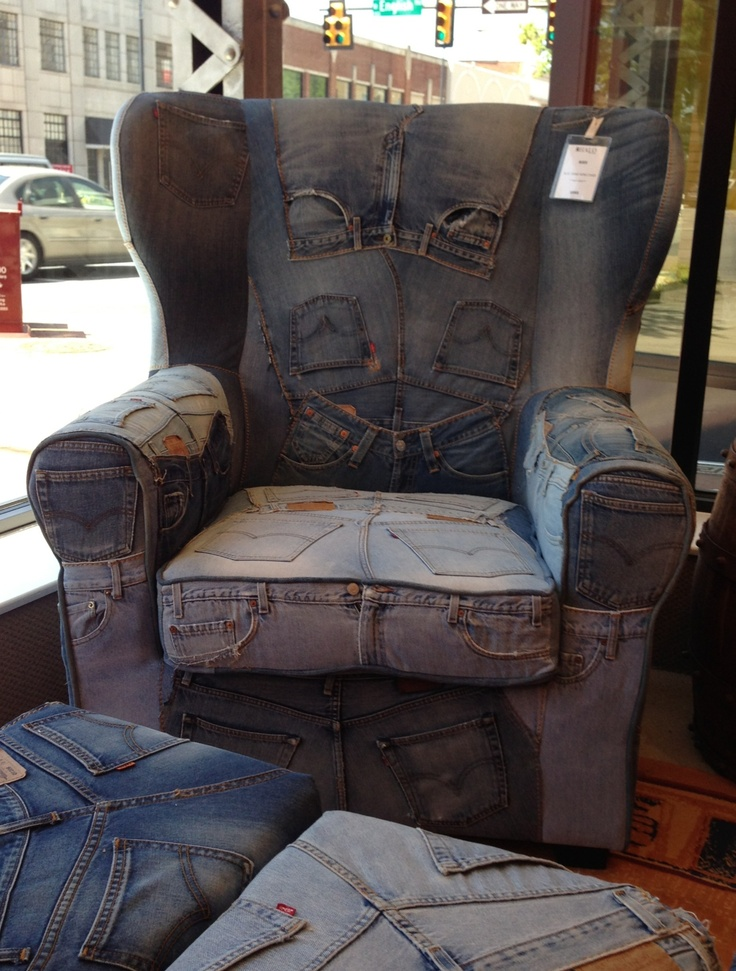 Recylcled blue jean chair and ottoman. So cool !