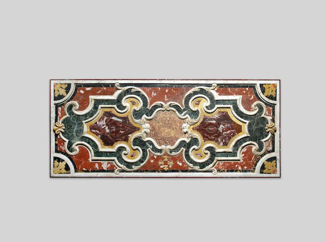 Italian 17th century pietra dura and marble panel  on a later cast-iron stand  the marble panel: 184cm wide x 79cm deep