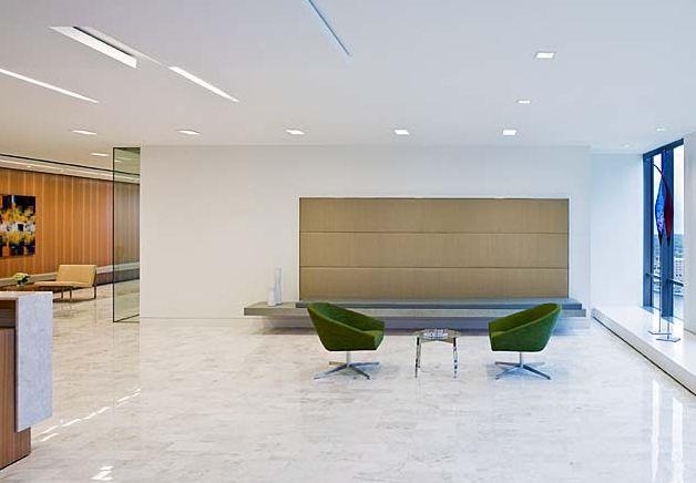 Back panel less is more gensler dla piper reception for Bbdo office design 9