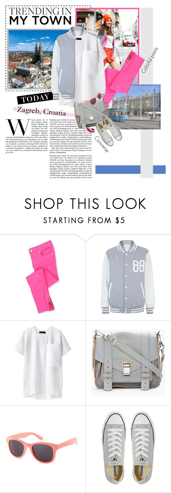 """""""Trending in my town: colorful pants & Converse sneakers"""" by minnie-me ❤ liked on Polyvore featuring Guide London, River Island, Levi's, rag & bone, Proenza Schouler, H&M, Converse, John & Pearl, varsity jackets and croatia"""
