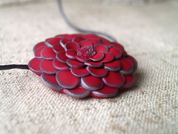 jewlery, polymer, clay, pendant, flower