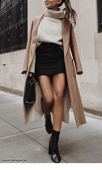 Das perfekte Herbstoutfit, schwarz und nackt