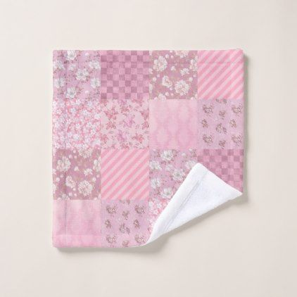 Pink Floral Patchwork Wash Cloth - home gifts ideas decor special unique custom individual customized individualized