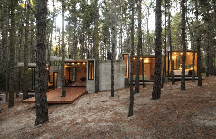 A Concrete Summer House By BAK Arquitectos //  BAK arquitectos (Besonias Almeida) constructed the AV house a concrete summer home in the forest of Mar Azul in Argentina. Surrounded by the lush natural landscape the architects goal was to design a...