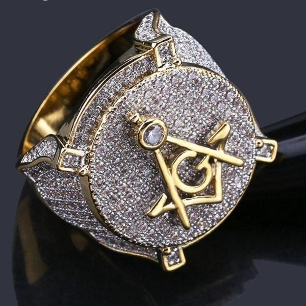 Free Mason Masonic Semi-Precious Black Onyx Stone Gold Plated Men Ring Size 15