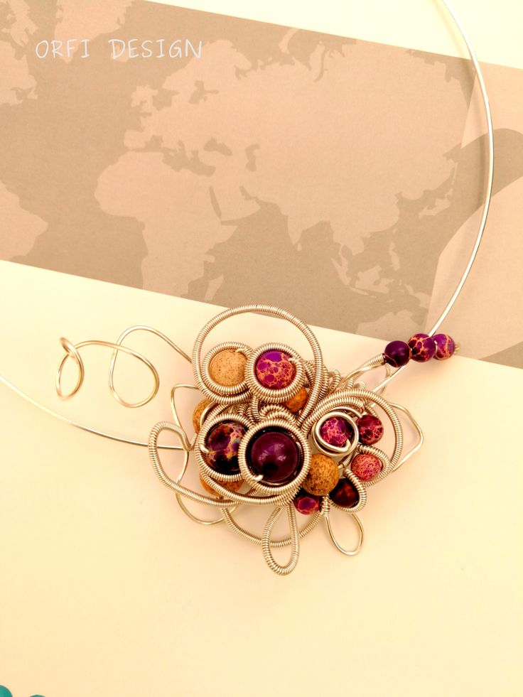 Purple wire wrapping necklace...