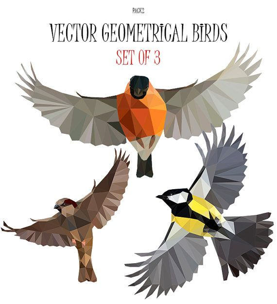 Vector illustration. Low poly art. Geometrical stock. Bird clip art. Listing of 3 vector low poly birds clip art. For commercial and personal use.  All