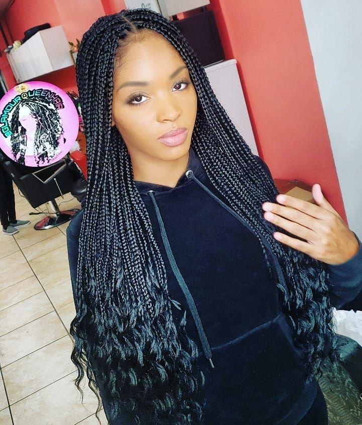 Bohemian Box Braids Waist Length Plain No Extra Curls