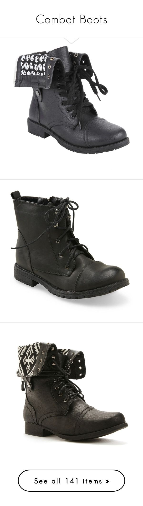 """""""Combat Boots"""" by ducky0524 ❤ liked on Polyvore featuring shoes, boots, ankle booties, fold-over boots, military lace up boots, black shoes, military combat boots, combat boots, sapatos and botas"""
