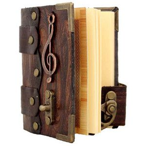 Music Note Pendant On A Brown Mini Leather Journal Diary Lock Sketchbook Notebook Leatherbound
